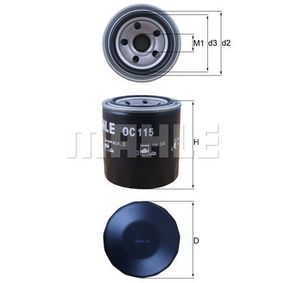 Ölfilter Ø: 76,0mm, Innendurchmesser 2: 51,5mm, Höhe: 92,6mm mit OEM-Nummer 15400 RTA 003