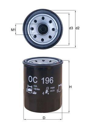 KNECHT  OC 196 Ölfilter Ø: 65,5mm, Außendurchmesser 2: 63mm, Ø: 65,5mm, Innendurchmesser 2: 55mm, Innendurchmesser 2: 55mm, Höhe: 87mm, Höhe 1: 85mm