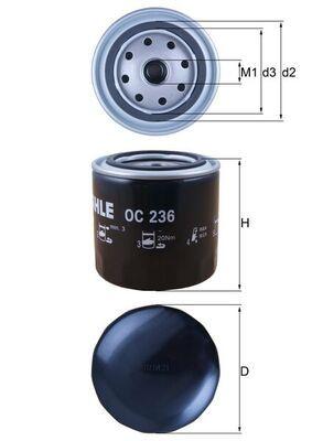 KNECHT  OC 236 Ölfilter Ø: 93,2mm, Ø: 93,2mm, Höhe: 96mm