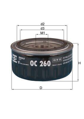 KNECHT  OC 260 Ölfilter Ø: 86,5mm, Innendurchmesser 2: 62,0mm, Höhe: 50,0mm