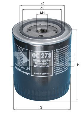 KNECHT  OC 278 Ölfilter Ø: 93,0mm, Ø: 93,0mm, Höhe: 114mm