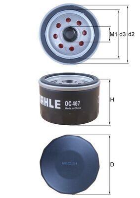 KNECHT  OC 467 Ölfilter Ø: 76,0mm, Innendurchmesser 2: 62,0mm, Höhe: 55,0mm