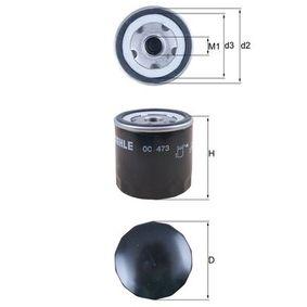 Filtre à huile Ø: 76,0mm, Diamètre intérieur 2: 62,5mm, Hauteur: 79,0mm avec OEM numéro 5889210
