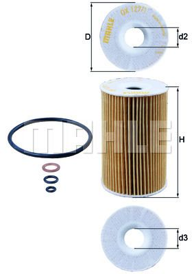 KNECHT  OX 127/1D Ölfilter Ø: 65,0mm, Ø: 65,0mm, Innendurchmesser 2: 18mm, Höhe: 102mm, Höhe 1: 102mm