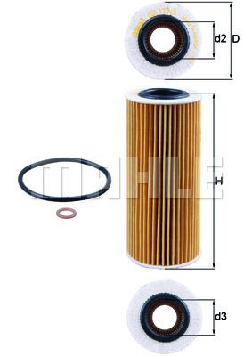 KNECHT  OX 177/3D Ölfilter Ø: 64,5mm, Ø: 64,5mm, Innendurchmesser 2: 32mm, Höhe: 153mm, Höhe 1: 149mm