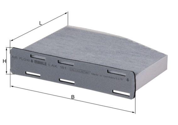 KNECHT  LAK 181 Filter, Innenraumluft Länge: 210mm, Breite: 273mm, Höhe: 57mm