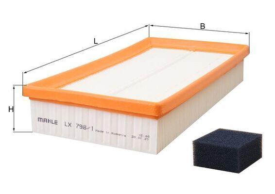 KNECHT  LX 798/1 Filtro de aire Ancho: 147,0mm, Altura: 47,3mm, Long. total: 265,0mm