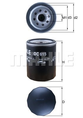 KNECHT  OC 615 Ölfilter Ø: 76,0mm, Ø: 76,0mm, Höhe: 101mm