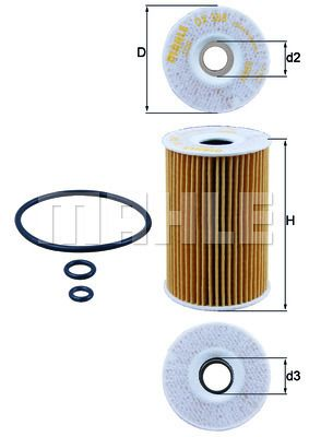 KNECHT  OX 388D Ölfilter Ø: 65,0mm, Ø: 65,0mm, Innendurchmesser 2: 22mm, Innendurchmesser 2: 22mm, Höhe: 101mm