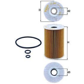 KNECHT  OX 388D Ölfilter Ø: 65,0mm, Innendurchmesser 2: 22,0mm, Höhe: 101,0mm