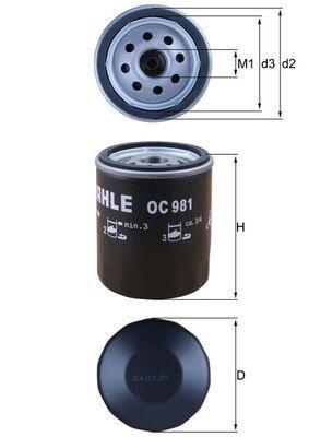 KNECHT  OC 981 Ölfilter Ø: 76,0mm, Ø: 76,0mm, Höhe: 94mm