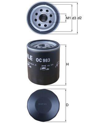 KNECHT  OC 983 Ölfilter Ø: 76,0mm, Ø: 76,0mm, Höhe: 94mm