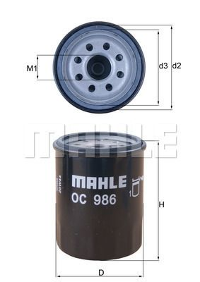 KNECHT  OC 986 Ölfilter Ø: 65,5mm, Ø: 65,5mm, Höhe: 86mm