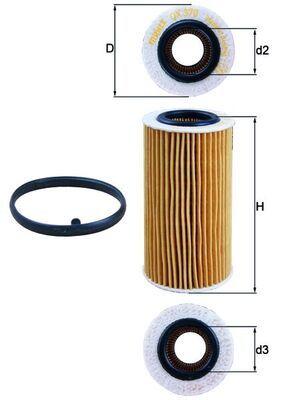 KNECHT  OX 370D1 Ölfilter Ø: 63,5mm, Ø: 63,5mm, Innendurchmesser 2: 32mm, Höhe: 125mm, Höhe 1: 121mm