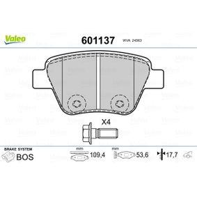 Bremsbelagsatz, Scheibenbremse Breite: 109,4mm, Höhe: 53,6mm, Dicke/Stärke: 17,7mm mit OEM-Nummer 5K0698451A