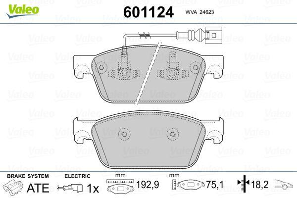 Bremsbeläge 601124 VALEO 601124 in Original Qualität