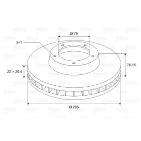 Bremsscheibe Bremsscheibendicke: 22mm, Felge: 5-loch, Ø: 296mm mit OEM-Nummer 34.11.1.164.839