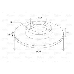 Bremsscheibe Bremsscheibendicke: 9mm, Felge: 4-loch, Ø: 249mm mit OEM-Nummer 4249.34