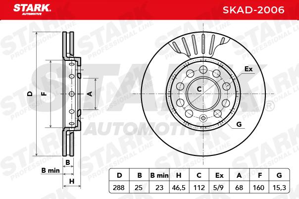 STARK Bremsscheibe Vorderachse, Ø: 288mm, belüftet SKAD-2006