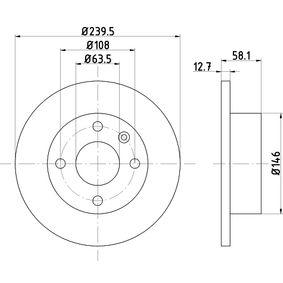 Bremsscheibe Bremsscheibendicke: 12,7mm, Ø: 239,5mm mit OEM-Nummer 6100043