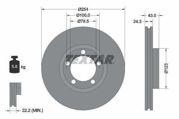 TEXTAR  92088100 Bremsscheibe Bremsscheibendicke: 24,3mm, Ø: 254mm