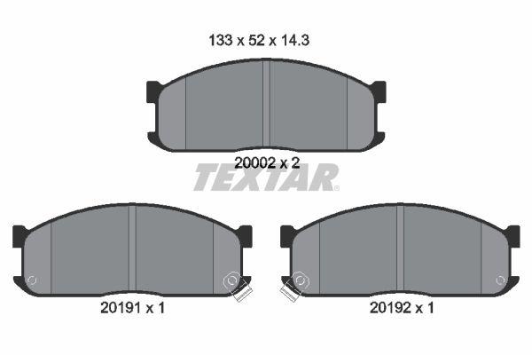 TEXTAR  2000201 Bremsbelagsatz, Scheibenbremse Breite: 133,1mm, Höhe: 52,1mm, Dicke/Stärke: 15mm