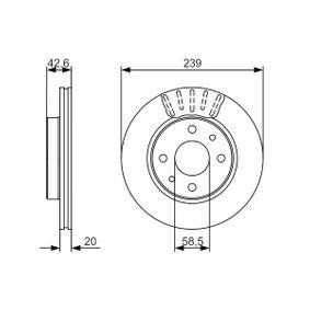 Bremsscheibe Bremsscheibendicke: 19,7mm, Lochanzahl: 4, Ø: 238,7mm mit OEM-Nummer 21103501070