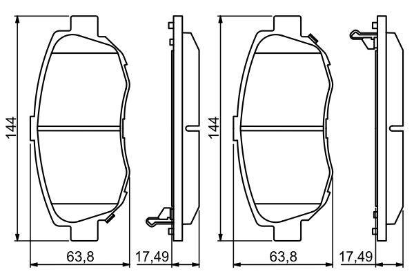 BOSCH  0 986 494 211 Bremsbelagsatz, Scheibenbremse Breite: 144mm, Höhe: 63,8mm, Dicke/Stärke: 17,5mm