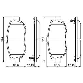 Bremsbelagsatz, Scheibenbremse Breite: 144mm, Höhe: 63,8mm, Dicke/Stärke: 17,5mm mit OEM-Nummer 04465-22312