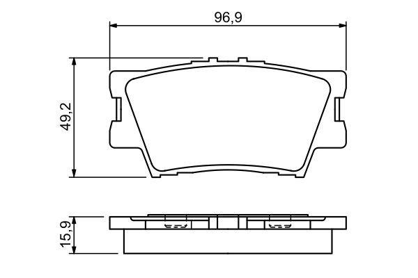 BOSCH  0 986 494 346 Bremsbelagsatz, Scheibenbremse Breite: 96,9mm, Höhe: 49,2mm, Dicke/Stärke: 15,9mm