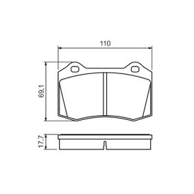 Bremsbelagsatz, Scheibenbremse Breite: 110mm, Höhe: 69,1mm, Dicke/Stärke: 17,7mm mit OEM-Nummer 6KL 698 151