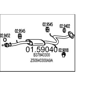 Mittelschalldämpfer 01.59040 323 P V (BA) 1.3 16V Bj 1996
