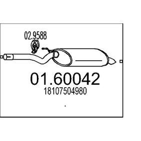 Endschalldämpfer Länge: 0mm mit OEM-Nummer 18 10 7 504 980