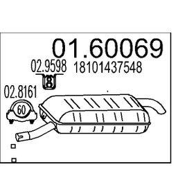 Endschalldämpfer Länge: 0mm mit OEM-Nummer 18 10 1 437 548