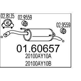 Endschalldämpfer Länge: 860mm, Länge: 860mm mit OEM-Nummer 20100AY10B