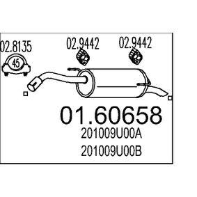 Nissan Note e11 1.6 Endschalldämpfer MTS 01.60658 (1.6 Benzin 2010 HR16DE)