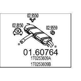 Touran 1T1, 1T2 1.6 Endschalldämpfer MTS 01.60764 (1.6 Benzin 2006 BSF)