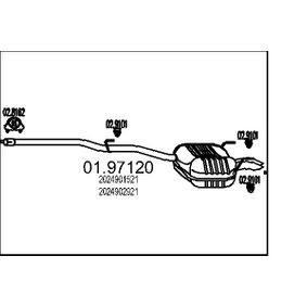 Endschalldämpfer Länge: 2070mm, Länge: 2070mm mit OEM-Nummer 202 490 15 21