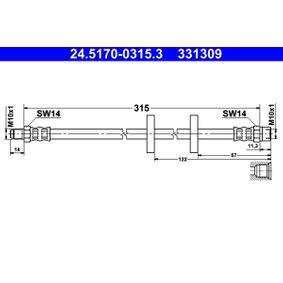 ATE  24.5170-0315.3 Bremsschlauch Länge: 315mm, Außengewinde: M10x1mm