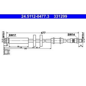 ATE  24.5112-0477.3 Bremsschlauch Länge: 477mm, Außengewinde: M10x1mm
