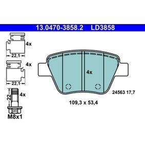 ATE Bremsbelagsatz, Scheibenbremse 13.0470-3858.2 für AUDI A3 (8P1) 1.9 TDI ab Baujahr 05.2003, 105 PS