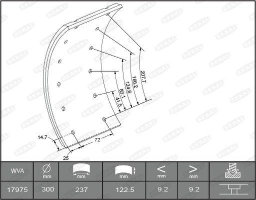 Brake Lining Kit, drum brake 1735109306015613 BERAL MB1182 original quality