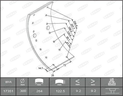 Brake Lining Kit, drum brake BERAL MB1172 rating