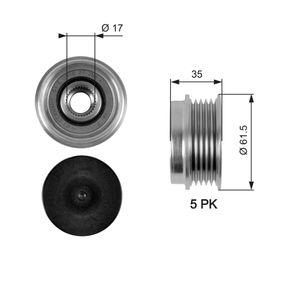 Freilauf Lichtmaschine VW PASSAT Variant (3B6) 1.9 TDI 130 PS ab 11.2000 GATES Generatorfreilauf (OAP7033) für