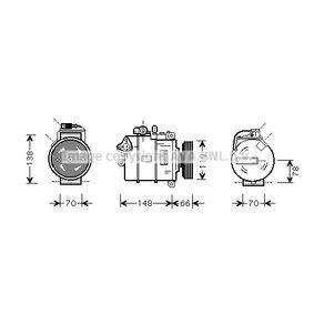 Compresor, aire acondicionado Polea Ø: 110mm con OEM número 4B0 260 805G