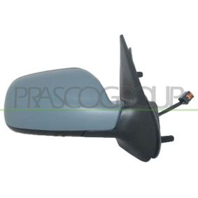 PRASCO Side view mirror Right, Electric, Blue-tinted, Convex, Electronically foldable, Heatable, Internal Adjustment, with mirror glass, with thermo sensor, Primed, Paintable