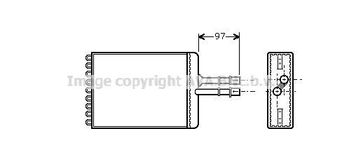 PRASCO топлообменник, отопление на вътрешното пространство за автомобили без климатизация  мед  OL6216