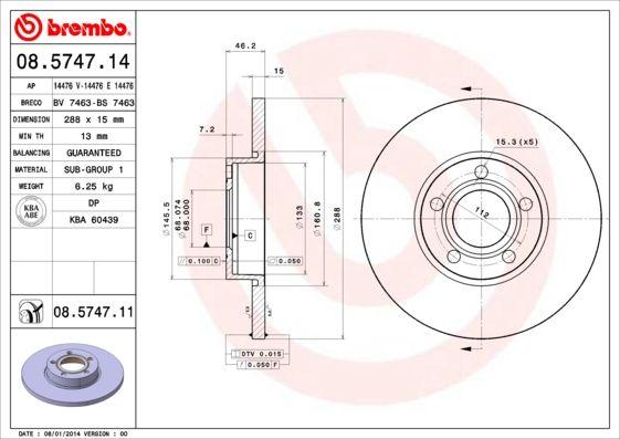Bremsscheiben 08.5747.11 BREMBO 08.5747.11 in Original Qualität