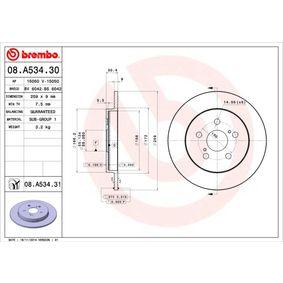 Bremsscheibe Bremsscheibendicke: 9mm, Lochanzahl: 5, Ø: 259mm mit OEM-Nummer 42431-02250
