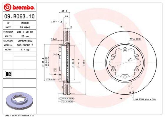 Bremsscheiben 09.B063.10 BREMBO 09.B063.10 in Original Qualität
